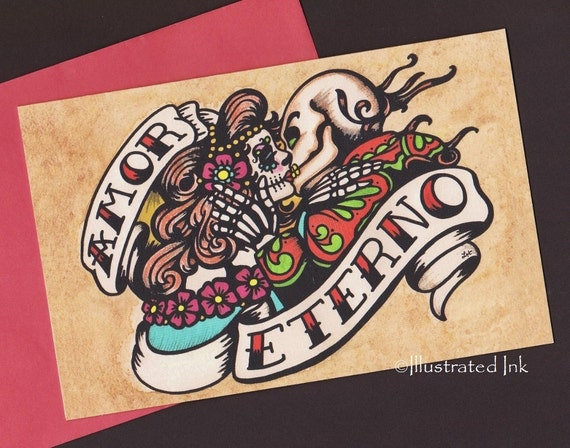 day of the dead folded greeting card amor eterno by illustratedink, Greeting card