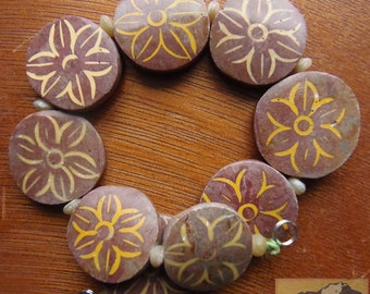 Etched Jasper Flower Bead Strand, 22 mm, Red Coin, Item JE40