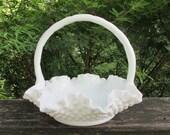 Fenton Milk Glass Brides Basket - Hobnail 1960s