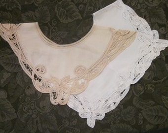 Two Vintage Collars - White/ Beige Battenburg Lace