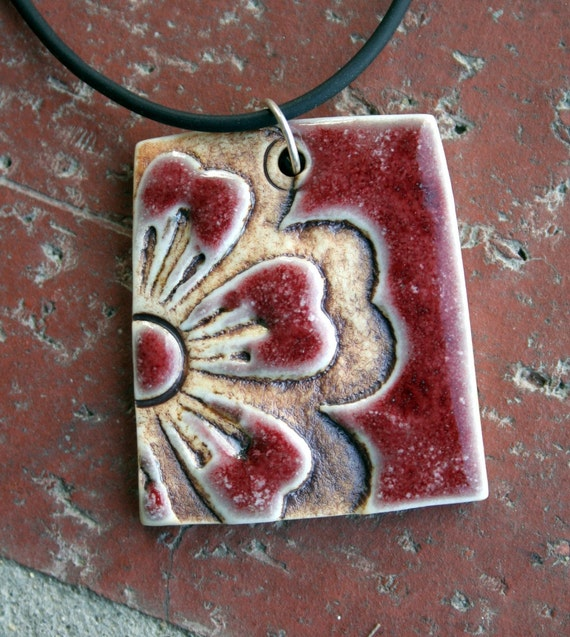 Bold Red Flower Porcelain Pendant 1