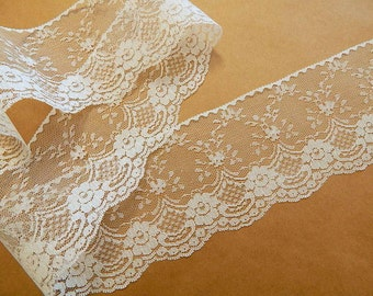 Ivory Lace Trim - 4 INCHES WiDE  5 yds. Lace Trim - Burlap Runners Rustic Wedding Decor Invitations