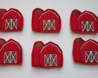 Red Barn Felt Embroidered Appliques - 150