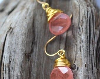 Gold and Cherry Quartz Dangle Earrings