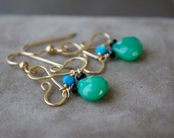 Green  Chrysoprase Gemstone Earrings, Briolette  Earrings, Gold Wire Wrapped Earrings