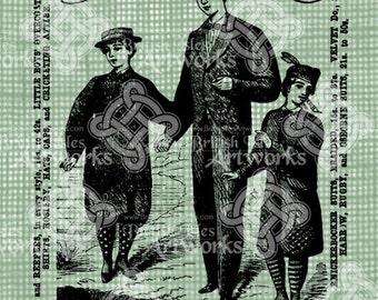 Digital Download Boys Clothing Ad, London England Advert for Jacket Suits, Antique Illustration, digi stamp, Digital Transfer
