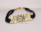peace sign bracelet hippie Chic goldtone peacesign peace jewelry