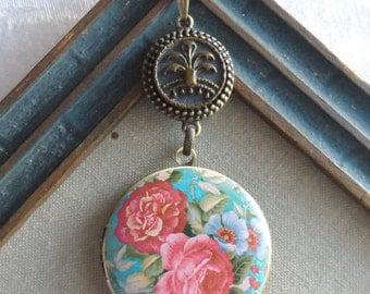 50% Off Antique Button Locket Necklace- Summer Garden
