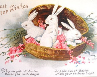 Art Print on SILK - 3 white bunnies in basket w blooms Best Easter Wishes from Vintage Card - fiber arts fabric collage Embellish Applique