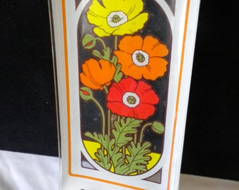 SALE   Vintage rectangular glass dish with poppies