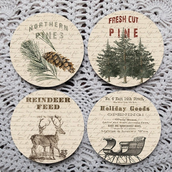 Christmas Shopping -- Vintage Burlap Sack Christmas Mousepad Coaster Set