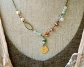 Grace.layered,glass beaded,boho,charm necklace. Tiedupmemories