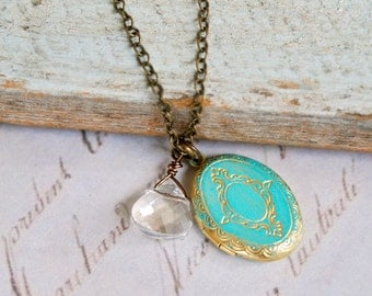 Christa. shabby chic, crystal ,locket , charm necklace.Tiedupmemories