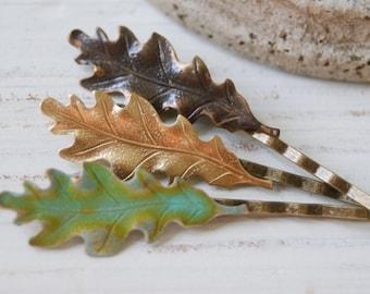 Fall leaves hair pin set. oak leaves,woodland bobby pin. Tiedupmemories