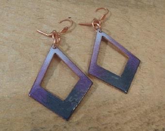 Earrings Copper enameled earrings / purple and steel gray