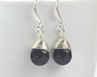 Black Silver Earrings, Black Sterling Silver Earrings