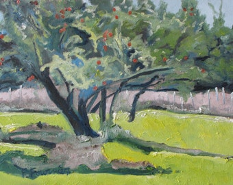 "Art Oil Painting Landscape Original Apple Tree Orchard Impressionist Green Appalachian Fall Autumn Quebec Canada Fournier ""The Apple Season"""