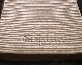 "30"" x 39"" Crate Pad - Camel, Chocolate, Taupe or Grey Welt and Rib - 6"" Mattress for Large Dogs - Includes Embroidered Personalization"