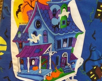 Halloween Skirt, Handmade Skirt, Long Skirt, Unique, Halloween Applique, Drawstring Waist, Haunted House, Spooky, Blue Black,Unique Clothing