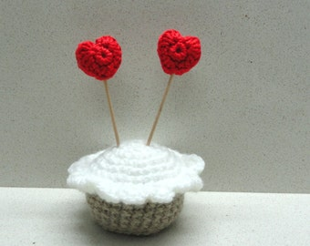 Housewares and decor supplies valentine day  six (6) small CROCHETED red hearts handmade   by Artefyk