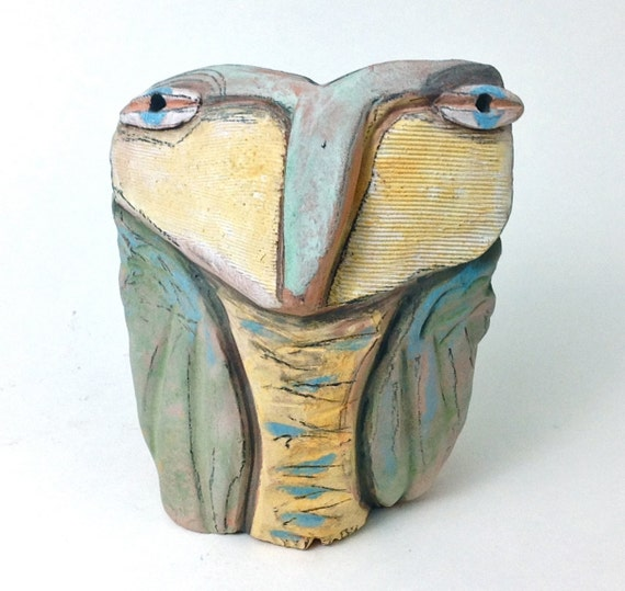 Owl, clay sculpture, whimsical, Owl Person Dreaming Beauty into Being