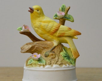 Vintage Porcelain Bird and Blossoms Music Box