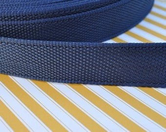 3 yards of 1.25 inch Nylon Webbing with Edge in Navy Blue  (Medium Weight)