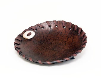 Brown rustic gift for men sculpted leather bowl with antler accent No. 2387