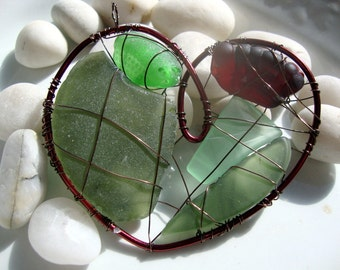 Red Heart Seaglass Suncatcher