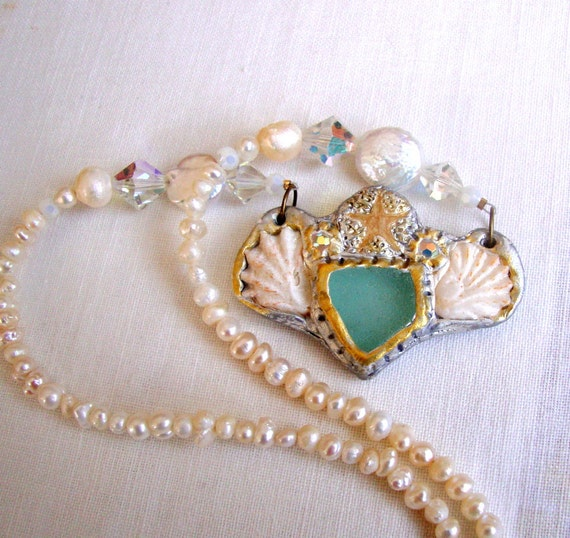 Elegant Seaglass, Starfish, and Pearl Necklace