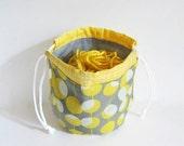 Yarn Cozy -- Round Drawstring Bag - Knitting project bag -- Amy Butler