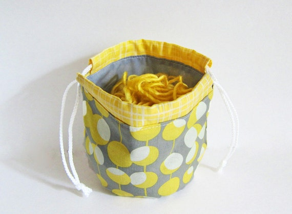Yarn Cozy -- Round Drawstring Bag - Knitting project bag -- Amy Butler