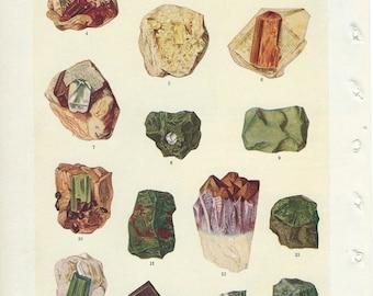 Vintage Book Plate - Gems / Vintage Illustration / Precious Gems / Rocks / Stones Garnet Aquamarine