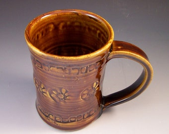 Pottery Beer Stein/Large Pottery Coffee Mug/Large Brown Pottery Mug