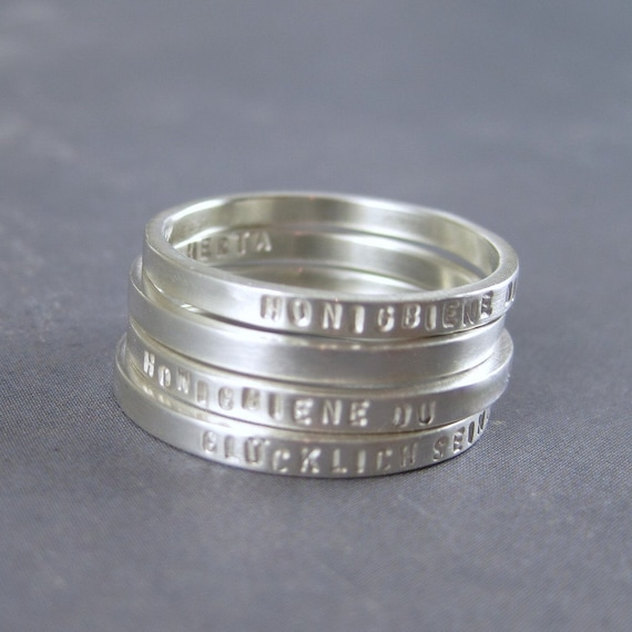 Slender sterling silver stacking ring in sterling silver with custom inscription - 2mm wide poesy ring