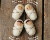 Walnut Baby - You Choose - Made to Order - Needle Felted Christmas Ornament with Custom Choices