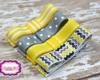 Yellow and Gray  Hair Clips Basic Tuxedo Clips Alligator Non Slip Barrettes for Babies Toddler Girl Set of 4