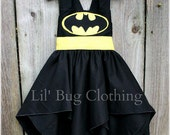 Custom Boutique Clothing Superhero Bat Girl Black And Yellow  BIrthday Costume