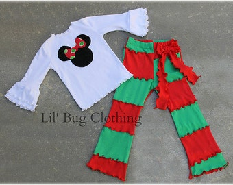 Custom Boutique Clothing Minnie Mouse  Christmas Holiday  Lettuce edge Pant And Tee Red And Green