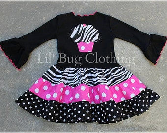 Custom Boutique Clothing Tiered Cupcake Black Hot Pink Dots Fall Birthday Dress