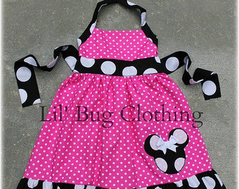 Custom Boutique Clothing Black White Jumbo Dot And Hot Pink  Dot Minnie Mouse Halter Dress