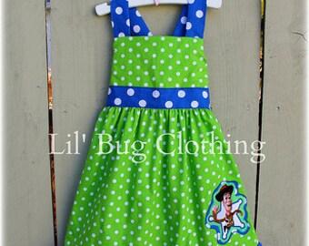 Toy Story Dress- Woody Toy Story Dress- Blue Lime Woody Girl Toy Story Dress- Boutique Girl Clothes