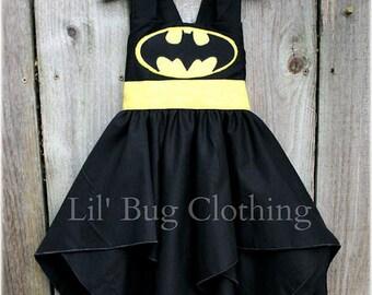 Superhero Batgirl Black Costume, Superhero Batgirl Dress, Custom Boutique Superhero Batgirl Dress