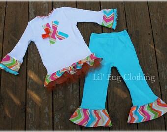 Rainbow Chevron Girl Outfit, Birthday Girl Personalized Outfit, Birthday Pant Tee Outfit, Boutique Girl Clothes
