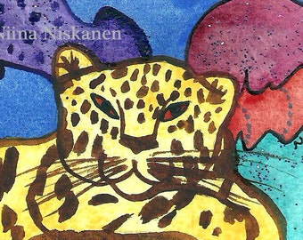 Wise are those who dream Panther ACEO Painting Original Animal Painting Original ACEO Mixed Media Tiger Wildlife Art by Niina Niskanen