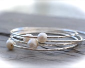 Sterling Silver Pearl Bangle. Cream Freshwater Pearl. Made To Order In Your Size. Maui Hawaii Bracelet