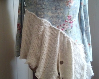 Plus size, recycled sweater and top, refashioned, lots of flare, funky, tattered, tunic, asymetrical