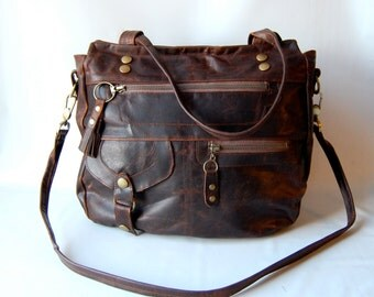 6 pocket Okinawa leather bag in walnut wood brown
