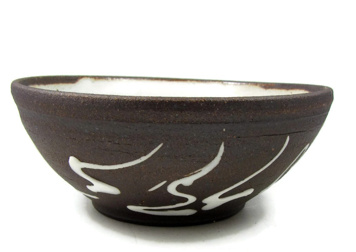Stoneware Bowl Black Mountain Clay Bowl Abstract Design
