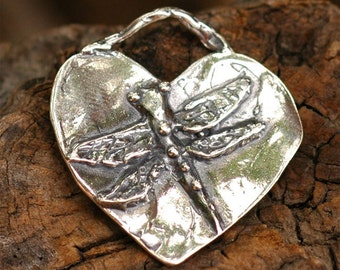 Sterling Silver Dragonfly Heart Pendant